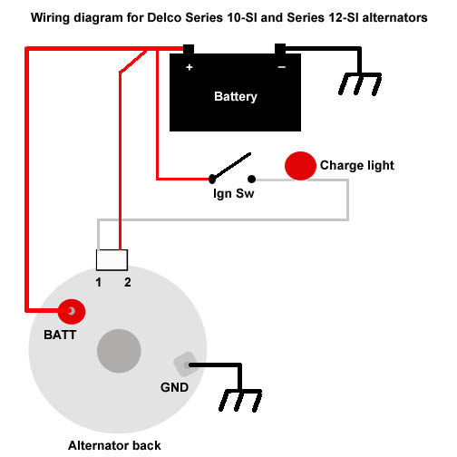 the delco 10 si and 12 si alternators wiring diagram for delco alternator