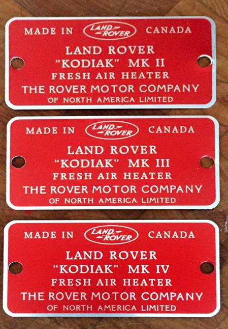 Series Land Rover Kodiak heaters