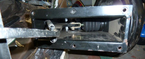 Underside of Defender brake pedestal